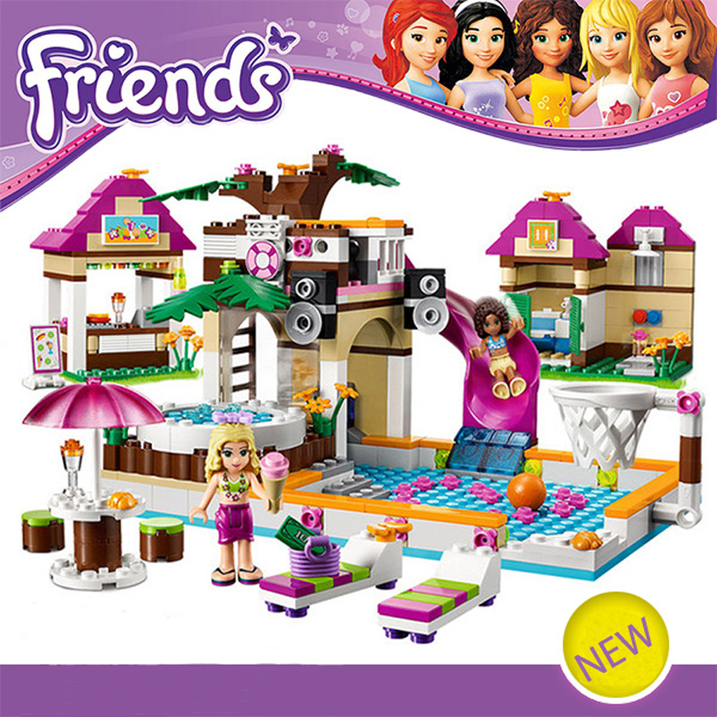 ФОТО 426pcs City Swimming Pool BELA Building Blocks Toy Set Friends Lepine Bricks Gift Toys Compatible With 41008 For Girl