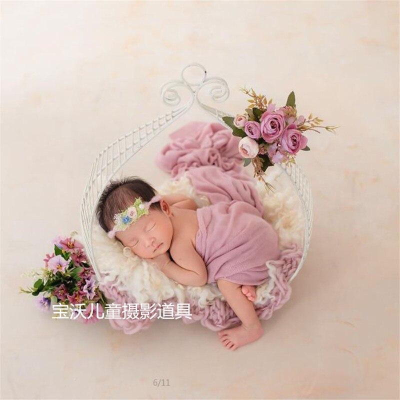 Studio bébé accessoires pour la photographie accessoires fer fleur panier photographie accessoires pour Shoot Flokati nouveau-né posant canapé-lit