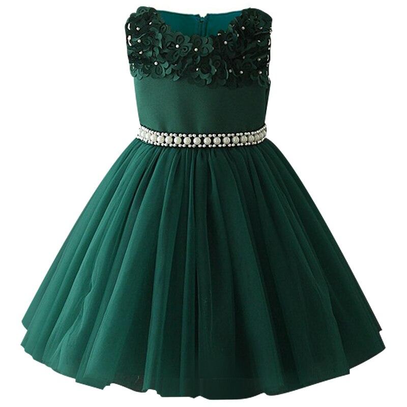 Атласное платье для первого причастия для маленьких детей; блестящее бальное платье; Пышное Платье; Платья с цветочным узором для девочек на свадьбу; платье для банкета сзади - Цвет: green