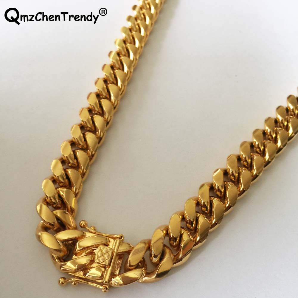 845241a180d1a Hip hop Stainless Steel Cuban Link Chain Men Necklace Golden Luxury Heavy  Lock Jewelry 14mm 20