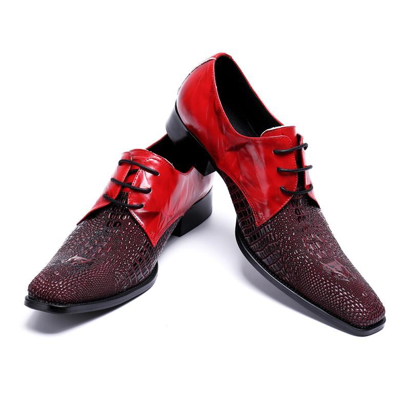 À lacets Bout Carré Hommes Chaussures En Cuir Véritable Boucle Affaires Formelles Oxford Chaussures Zapatos Hombre De Bal De Mariage Chaussures Hommes Appartements - 6