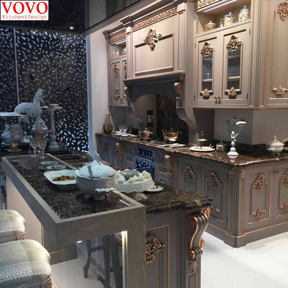 Solid wood kitchen furniture with gold painted design
