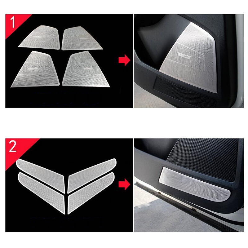 Tonlinker Cover Sticker For SKODA KODIAQ 2017 18 Car Styling 4 Pcs Stainless steel Interior Door Speaker position Cover stickers in Automotive Interior Stickers from Automobiles Motorcycles