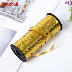 5mm 100 Yards Gold Curling Balloons Ribbons Laser Ribbon for Birthday Party Decoration Gifts Box DIY Packing Foil Satin Ribbons