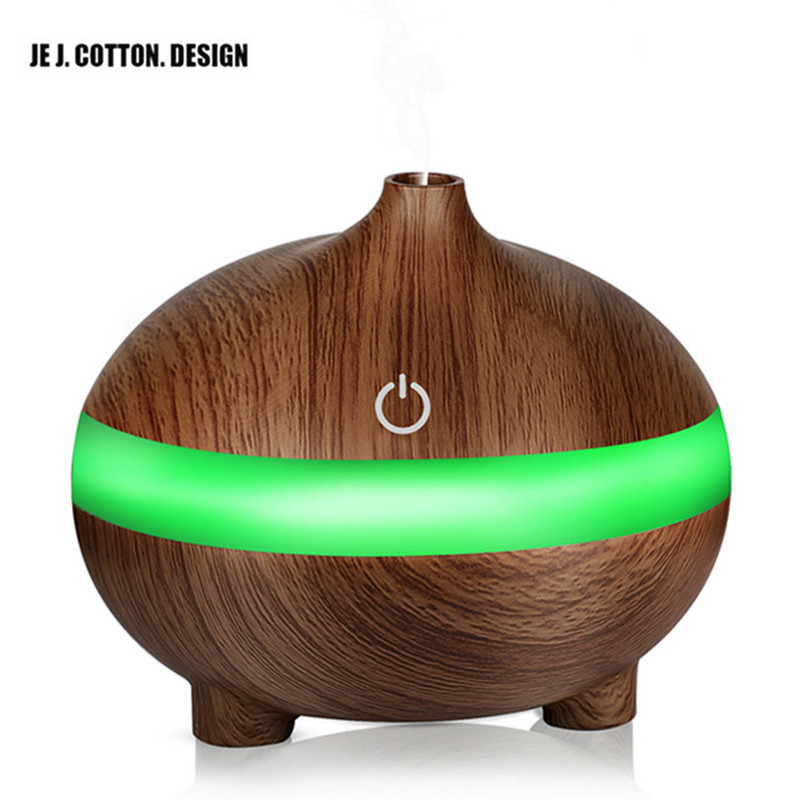 300ML Air Humidifier Colorful Lights LED Ultrasonic Humidifier Aroma Essential Oil Diffuser with USB Wood Grain For Office Home colorful wood grain print flannel bath rug