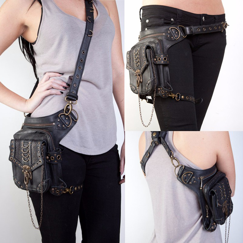 alta qualidade de couro pu Suitable For : Motorcycle/ride/steam/punk/gothic/hip-hop/travel/goth/chain Bag
