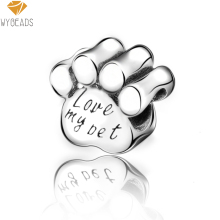 WYBEADS Silver Plated Charms Love My Pet European Charm Beads Fit Snake Chain Bracelet Bangle DIY Original Jewelry Making