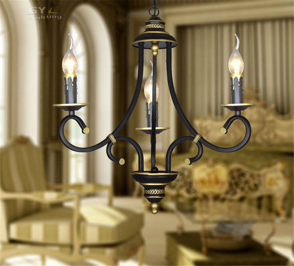 AC110 220V European chandelier candle lustres living room dining room bedroom lamp chandelier iron dual candle chandeliers light