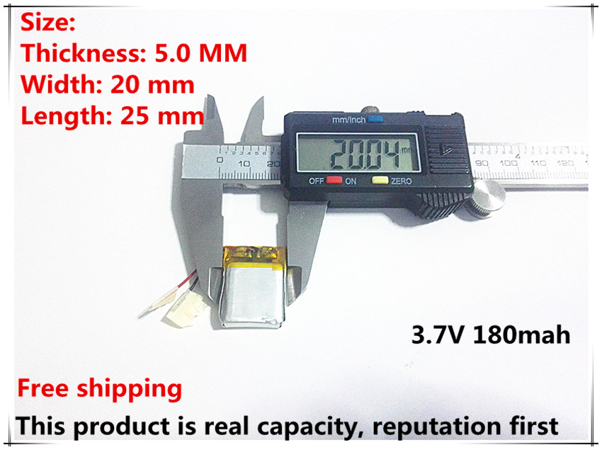Free shipping 3.7V lithium polymer battery 052025 502025 180mah MP3 MP4 MP5 on polymer battery 3 7v 502030 ext mp3 shaking his stick bluetooth watch 052030 lithium battery