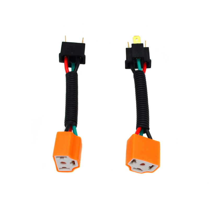 SKYJOYCE 2PCS H4 H7 H11 9005 9006 Ceramics Female Adapter Wiring Harness Socket Car Wire Connector Cable Plug for HID LED Bulb