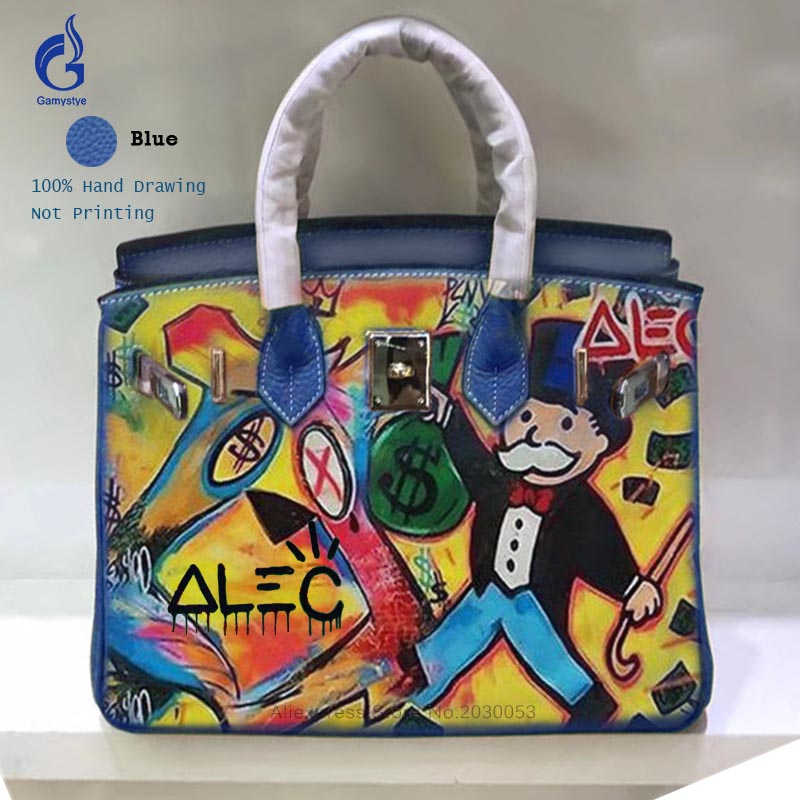 Women Leather Handbags Togo Leather Crossbody Bags Art Hand Drawing Graffiti ALEC POP Art Cartoon Bag Big Messenger Bags