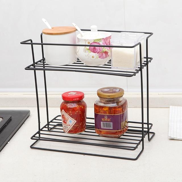 Kitchen Storage Racks Best Countertops Holders Double Layer Lron Art Shelves Cosmetic Toiletries Condiment Shelf Bathroom Organizer Home Supplies