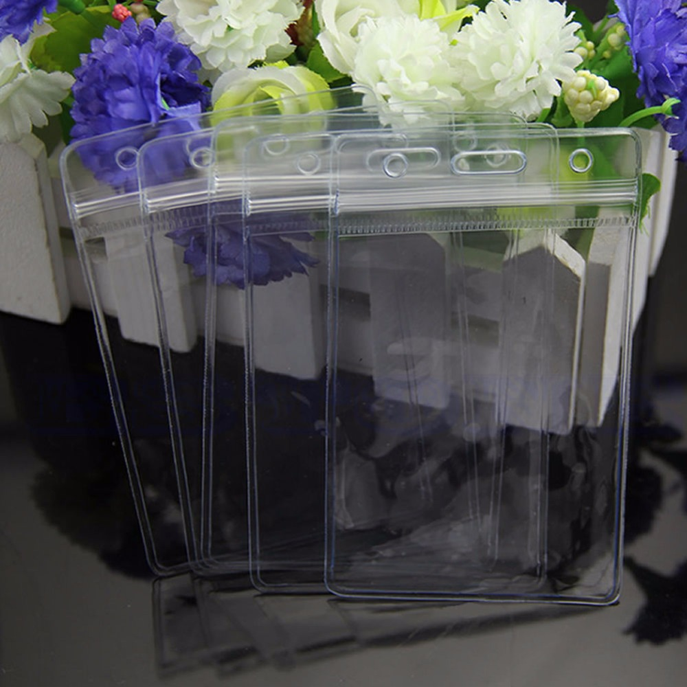 5 X Clear Convenient Transparent Pvc Badge Work Exhibition Id Name  Waterproof Card Holders Trunk No