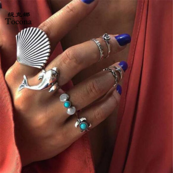 Tocona 8 pcs/sets Bohemia Punk Vintage Silver Color Rings Carving Dolphin Shell Flowers Women Men Jewelry Accessories Gift 7069
