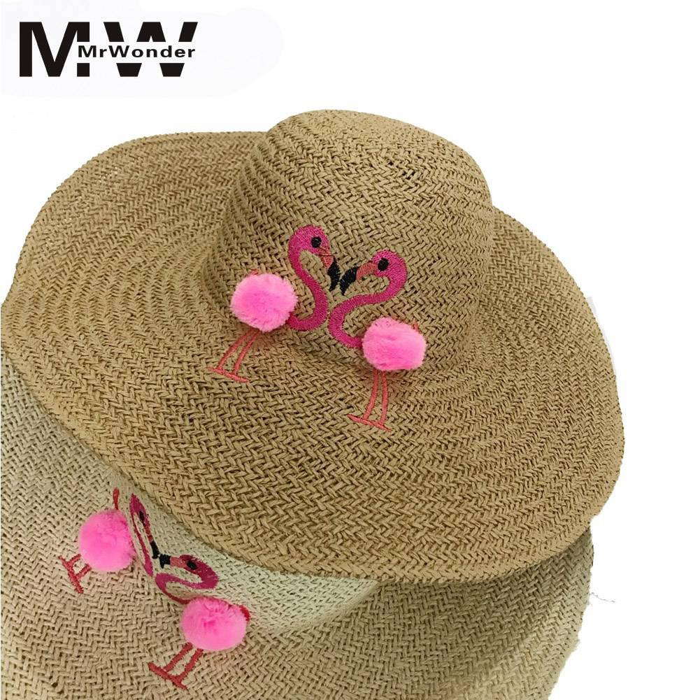 Adult Cute Flamingo Embroidery Sunshading Hat With Big Eave Round Top Beach Cap Gift Ornament SAN0