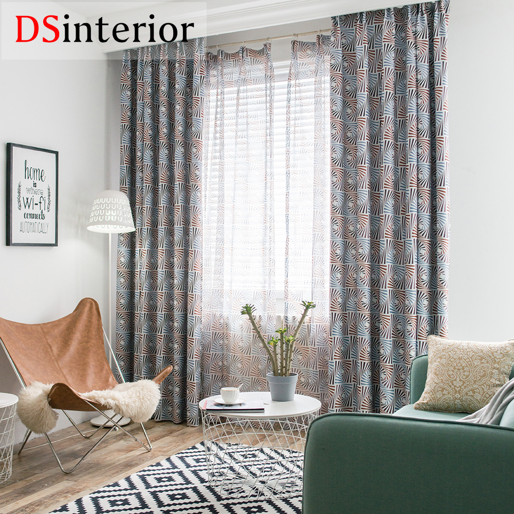 US $6.08 20% OFF|DSinterior modern design printing polyester cotton curtain  for living room or bedroom-in Curtains from Home & Garden on AliExpress