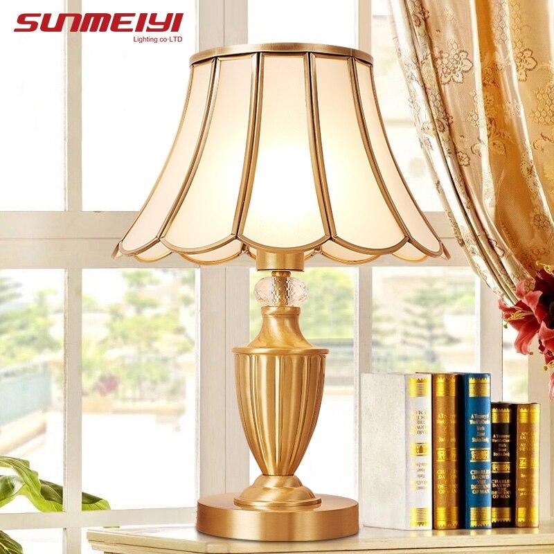 Современные светодио дный светодиодные настольные лампы медные прикроватные лампы candeeyro de mesa для гостиной спальни чтение книги огни стол Д