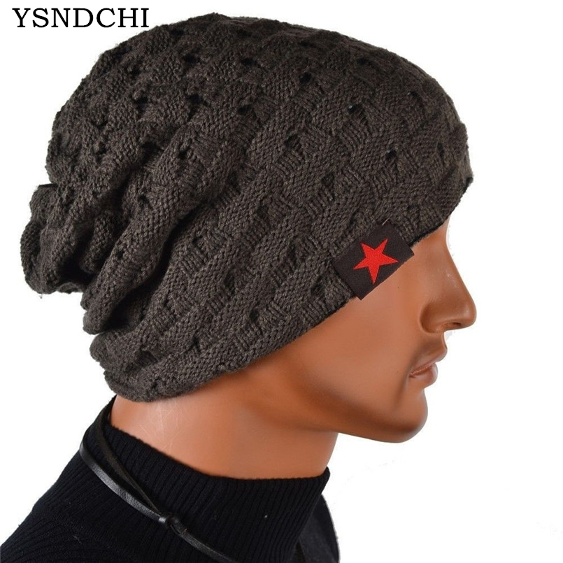 YSDNCHI Winter Beanies Men Pentagram Beanie Knitted Gorros Women Bonnets Unisex Skullies Baggy Warm Skull Big Size Cap 8 Colors 2017 winter women beanie skullies men hiphop hats knitted hat baggy crochet cap bonnets femme en laine homme gorros de lana
