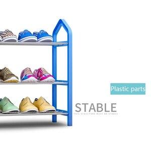 Image 4 - Muebles para el hogar estante sencillo para zapatos armario de almacenamiento multicapa zapatos de montaje económicos estante organizador de almacenamiento soporte