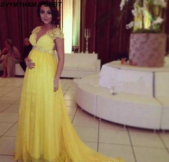 Bata De noche 2019 elegante mujer embarazada vestidos De noche mangas casquillo maternidad vestidos amarillos De graduación De talla grande