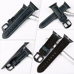 Image 2 - Maikes para apple pulseiras de relógio 42mm 38mm / 44mm 40mm série 4/3/2/1 iwatch azul cera de óleo pulseira de couro para apple pulseira de relógio