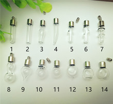 50X SCREW CAP glass vial pendant Miniature Wishing Bottle clear oil charm name or rice art