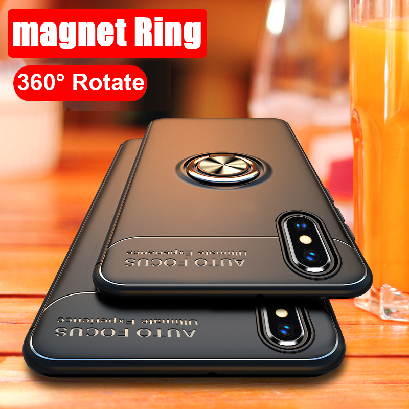 360 Rotating metal Magnetic Silicone Case For iPhone XR XS Max 8 Plus 7 X iPhone8 6 6s Cover magnet holder TPU coque iphone xr case magnetic