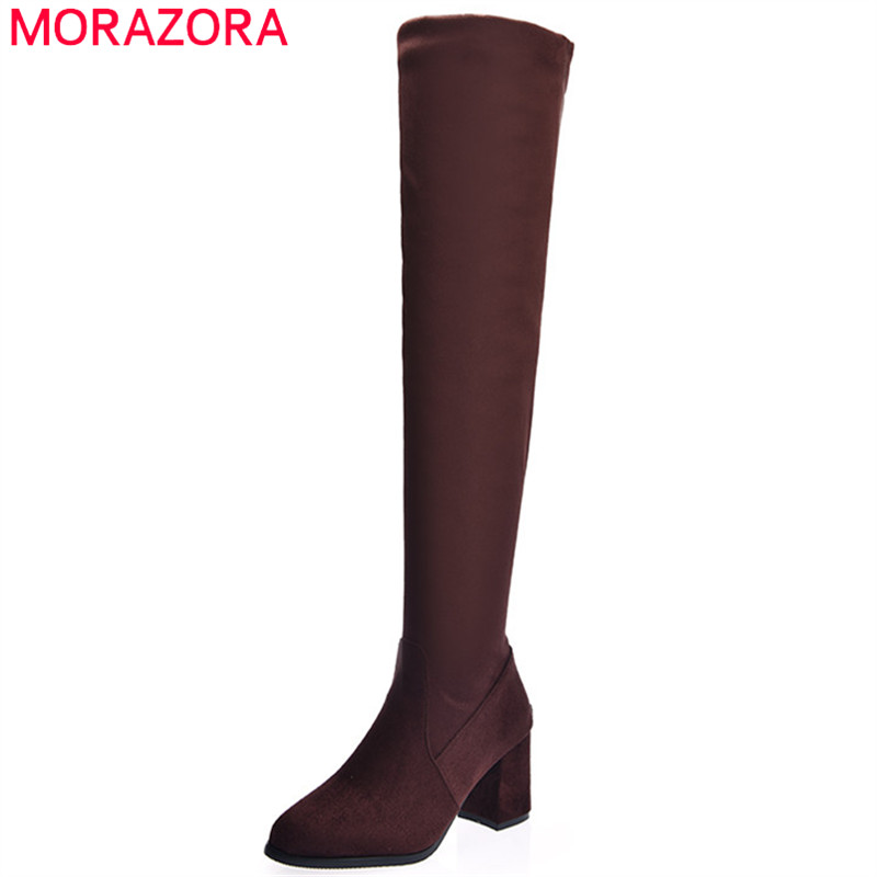 MORAZORA Stretch long boots female in autumn winter womens boots fashion shoes woman over the knee boots party flock zip