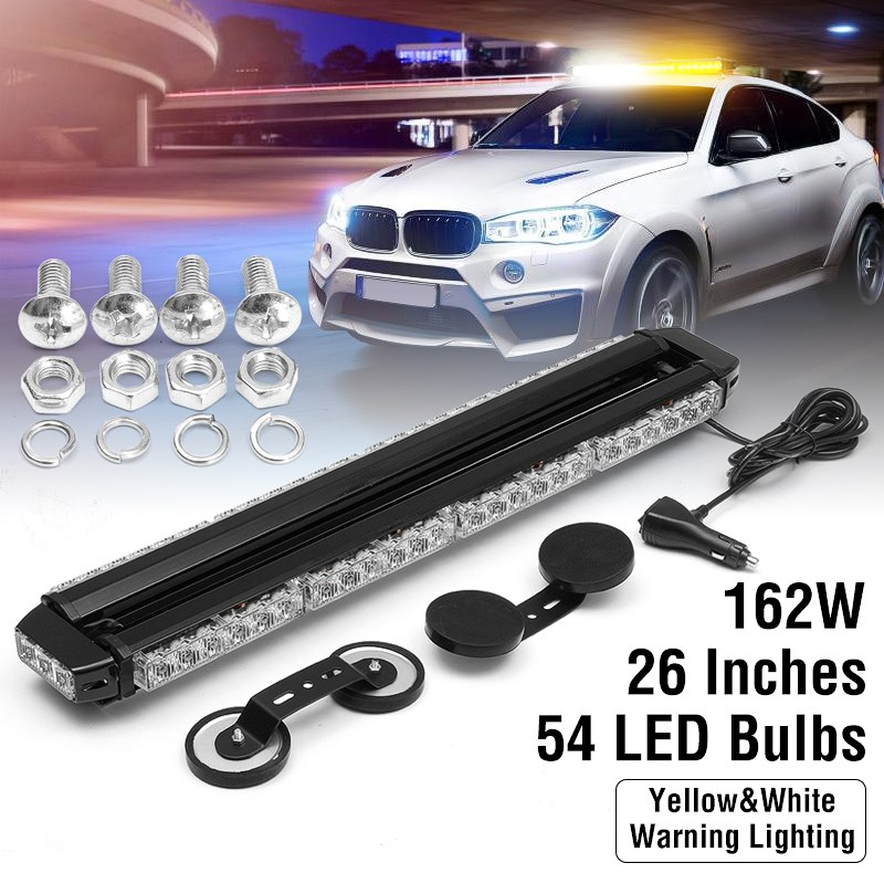 12V 36/54LED White Flashing Light Bar FIREMAN OFFROAD Car Flash Light LED Strobe Hazard Warning Emergency Fog Lamp ltd 5111 dc12v flash car strobe warning light fireman emergency strobe light vehicle light with magnet bottom