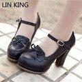 LIN REY Beige Negro Marrón Princesa Lolita zapatos bowtie lindo dulce Japonés Anim cosplay maid estudiante zapatos niñas zapatos de las mujeres