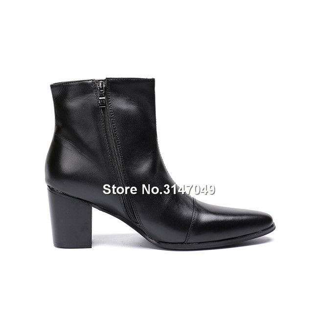 Black Mens Leather Ankle Boots Big Size 47 Zipper Mens Boots Pointed Toe Casual Mens High Heel Boots New Fashion Man Boots Shoes