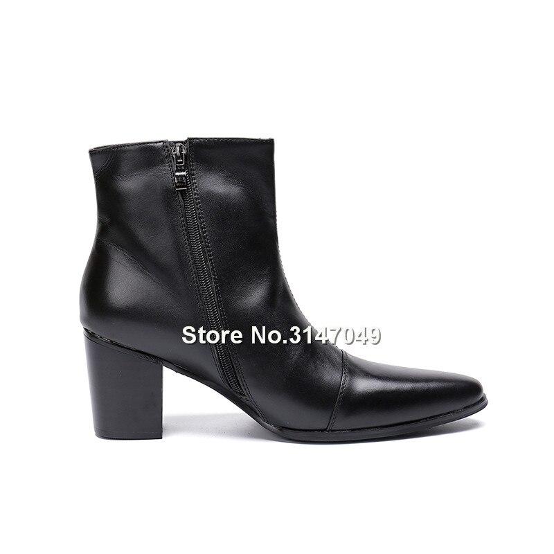Botas Tobillo De Hombre Zapatos Cremallera 47 Cuero Tacón Negro Moda La Para Nueva Grande Alto Casuales Tamaño dqwXtAn