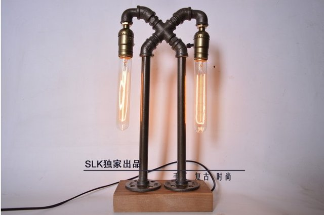 Vintage Industrial Retro Style Steel Pipe Desk Table Lamp Edison Bulb Pipe  Lamp Led Table Lamp