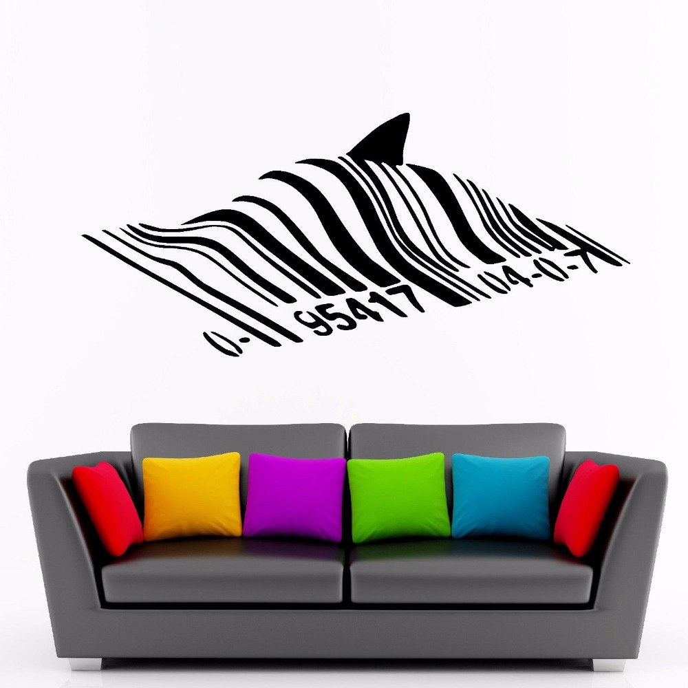 Banksy Barcode Shark Cute Wall Sticker Pvc Vinyl Art Removable Poster Mural Graffiti Style Decoration For Bedroom Decals W137 in Wall Stickers from Home Garden
