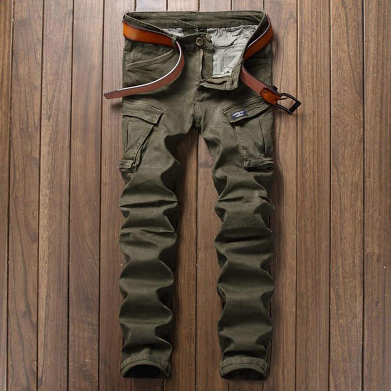ФОТО Men Biker Jeans Men Skinny Cargo Pocket Jeans Brand Mens Designer Clothes Military Mens Denim Pants Army Green Pantalones Hombre