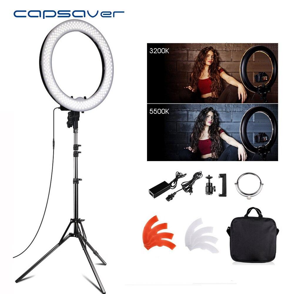Capsaver 18 pouce LED Caméra Lumière D'anneau Photo Studio Téléphone Vidéo Lampe avec Stand Maquillage Miroir Portable Éclairage Photographique