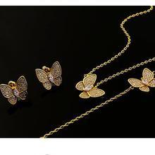 gold color full crystal butterfly necklace bracelet  earring set for women, copper dubai jewelry sets parure bijoux femme