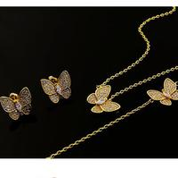 18k Gold Plated Full Crystal Butterfly Necklace Bracelet Earring Set For Women Copper Dubai Jewelry Sets
