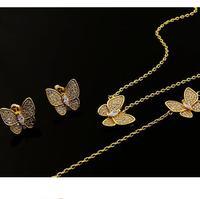 18k Gold Plated Full Crystal Butterfly Necklace Bracelet Earring Set For Women Copper Dubai Jewelry Sets