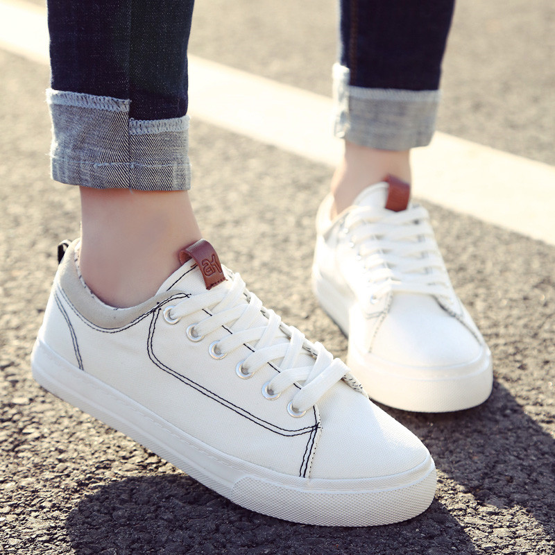 Fashion Women Sneakers Casual Summer Canvas Shoes Female Lace Up Trainers Skateboard Shoes Ladies Basket Femme White Black 982118319395 xtep 2018 new fashion street women s bowknot stan bow tie lace up white black skateboard shoes