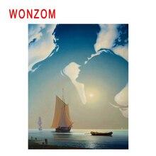 WONZOM Boat Sailing Diy Painting By Numbers Sunrise Sea Oil Cuadros Decoracion Acrylic Paint On Canvas Modern Wall Art