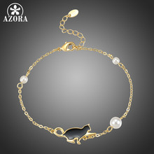 AZORA Brand Design Cute Black Cat Bracelet for Women Girls Daily Party Pearl Fashion Jewelry Gift TS0210(China)