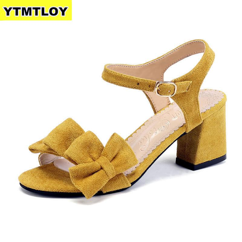 Bow Summer Sandals Women Shoes Party Ladies Summer Woman Buckle Strap Sandals Ankle Strap High Heels 7cm Sandalia Feminina