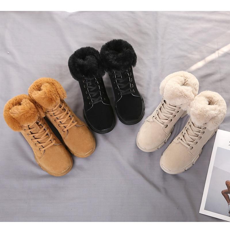 Nieve Mujeres Algodón Botas Moda Encaje Beige Nuevas Casual Felpa marrón negro Botines Suela Invierno Hasta Caliente 2019 Estudiantes Zapatos PfRfx