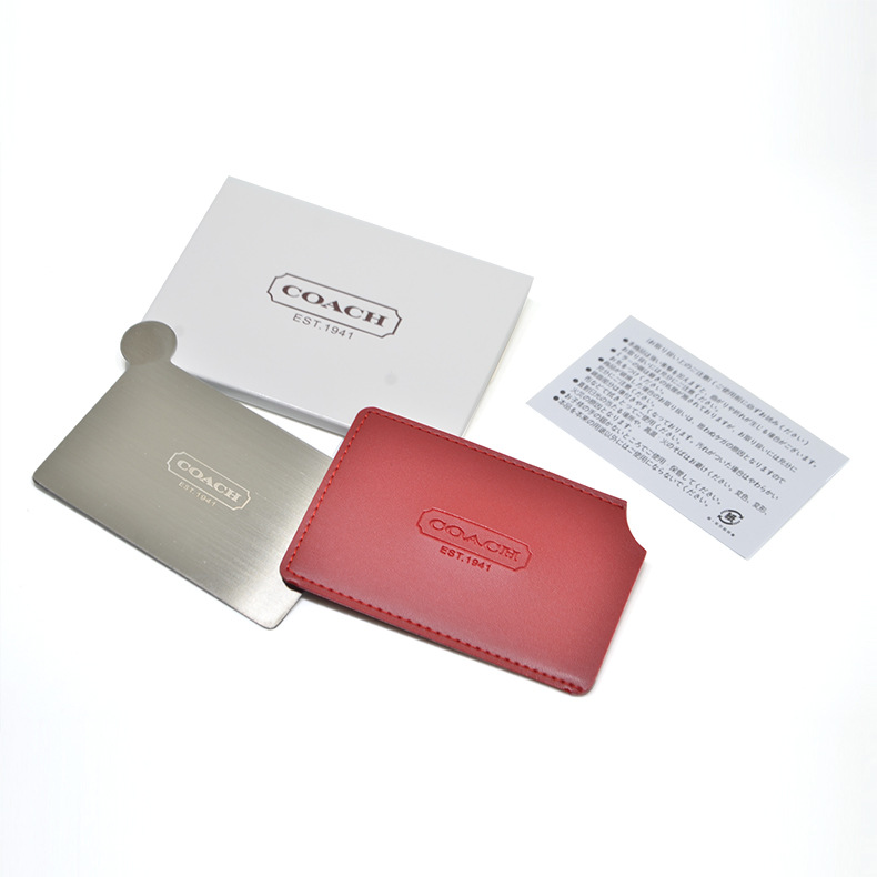 30pcs lot Portable Shatter Proof Card Style Pocket Cosmetic Mirror PU Leather Cover Stainless Steel Unbreakable