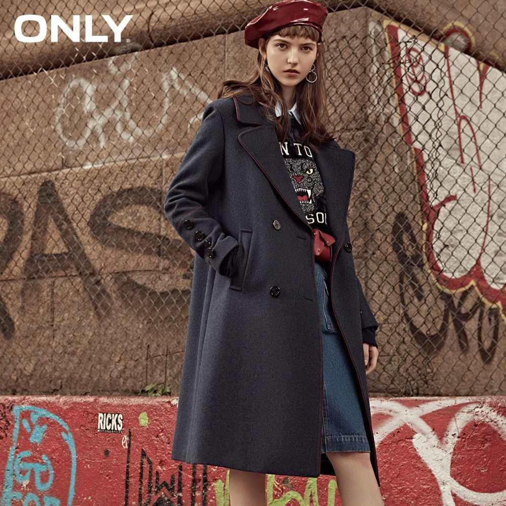 ONLY  womens' winter new long woolen coat Rolling design Button design|11834S530