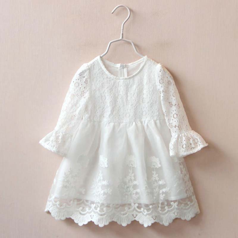 Little Girl Clothes Dresses 2016 Fashion Hollow Lace Kids Little Girl Clothes Dress Autumn Brand Clothes Dresses For Little Girl