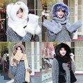 Margarida e Na mulheres chapéu de inverno com cachecol luvas de esqui anexado falso de capa 061