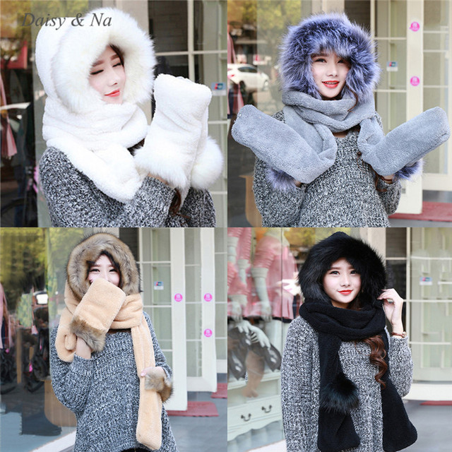 aceb21021ba94 Women Hat Winter Soft With Long Scarf Mittens Ski Attached Gloves Faux Fur  Hood 061