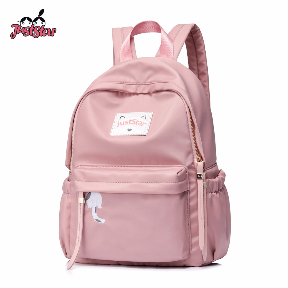 Just Star Brand Women's Nylon Backpack Ladies Fashion Double Shoulder Bags Female Embroidery Cat Student School Pink Rucksack